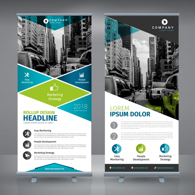 Roll up template design Free Vector