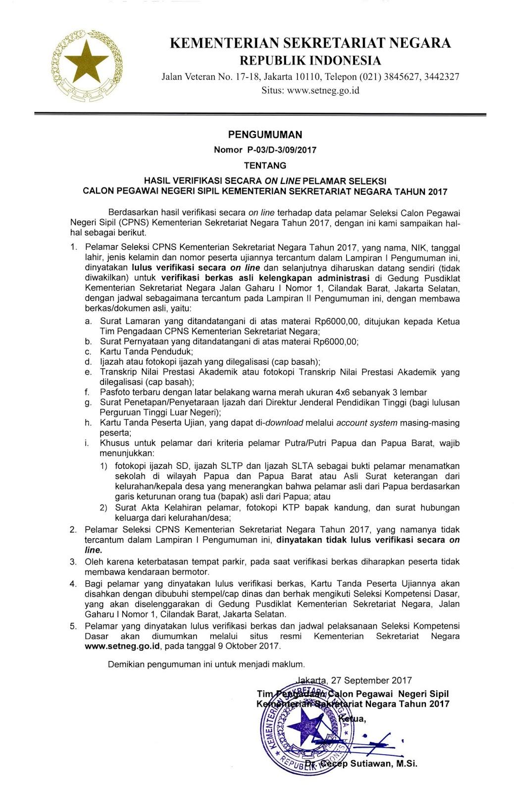 Pengumuman Hasil Seleksi Verifikasi Online dan Jadwal Verifikasi Berkas CPNS Kementerian  Pengumuman Hasil Seleksi Verifikasi Online dan Jadwal Verifikasi Berkas CPNS Kementerian Sekretariat Negara