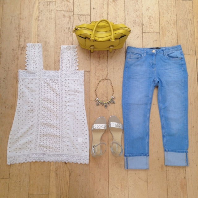 What Lizzy Loves. Broderie anglaise tunic top, pale cropped jeans, yellow bowling bag and silver sandals