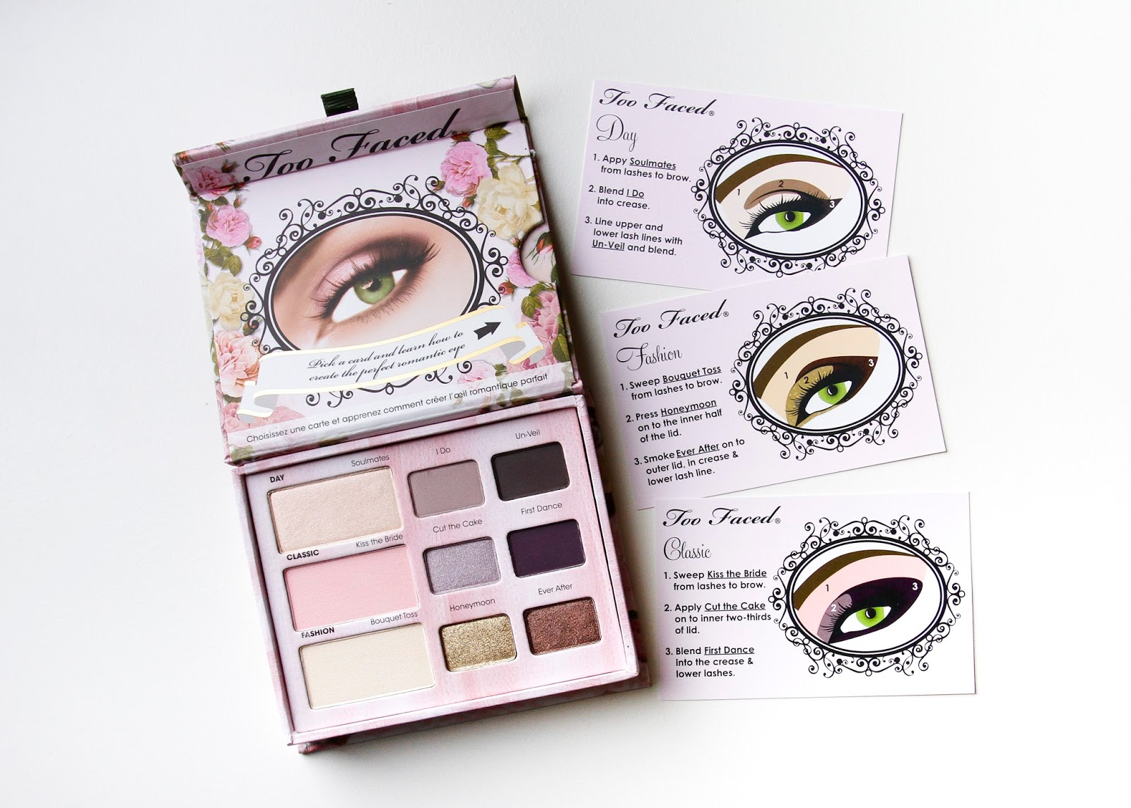 romantic eye palette opened with all 3 tutorial cards shown