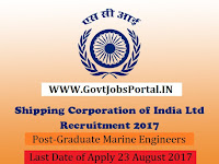 Shipping Corporation of India Limited Recruitment 2017– 40 Graduate Marine Engineers