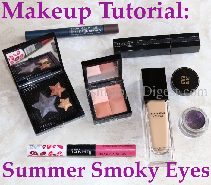 Summer night out makeup tutorial with Givenchy products, including a purple black smoky eyeshadow.