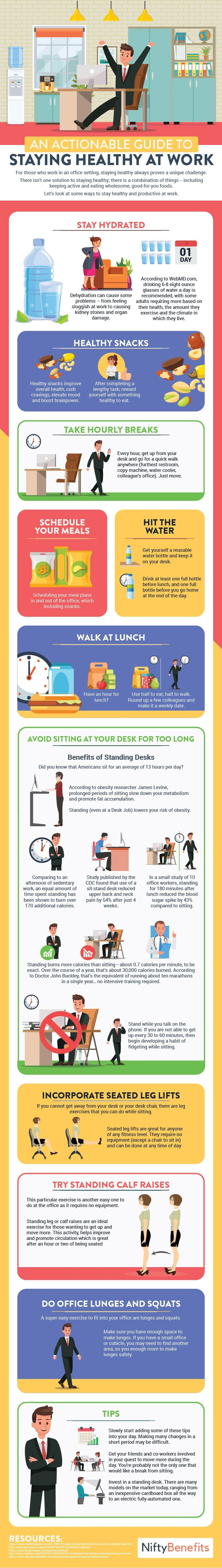 An Actionable Guide To Staying Healthy At Work #Infographic