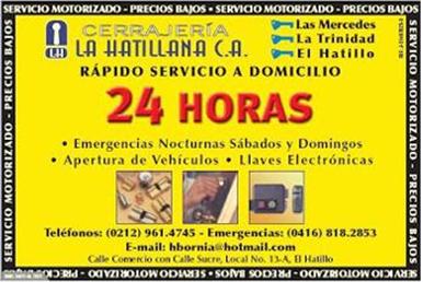 CERRAJERIA LA HATILLANA C.A en Paginas Amarillas tu guia Comercial