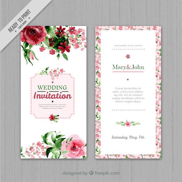 Watercolor floral wedding invitation - Free Vector