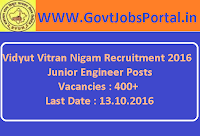 Vidyut Vitran Nigam Recruitment 2016 for 400+ Jr. Engineers Apply Online Here
