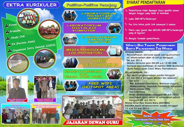 Brosur smk bustanul tahun pelajaran 2013 yang bisa bersaing dengan brosur SMKN, MA, SMA dan yang lainnya