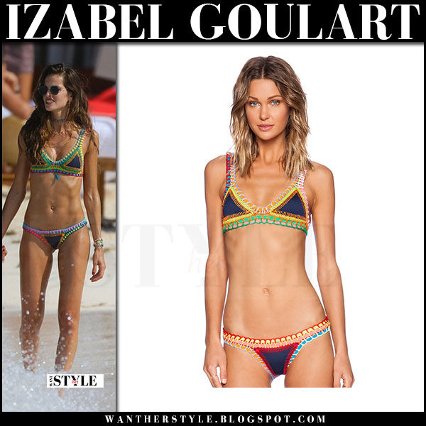Izabel Goulart in crochet triangle bikini on the beach kiini tasmin what she wore