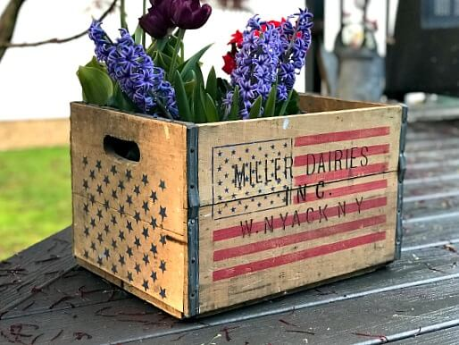 American Flag Stencil on a Crate