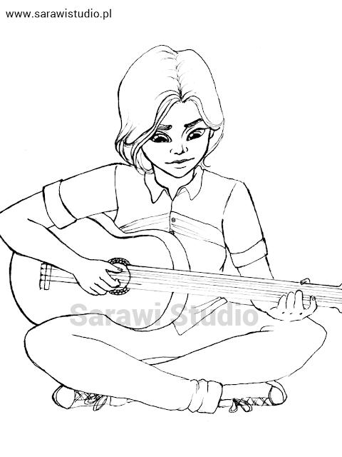 dziewczyna, gitara, instrument, portret, muzyka, rysunek, drawing, girl with the guitar, music, lineart, inking, sarawi, sarawistudio, sarawi studio,
