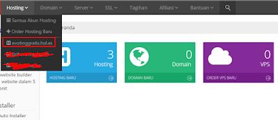 Halaman dashboard IdHostinger
