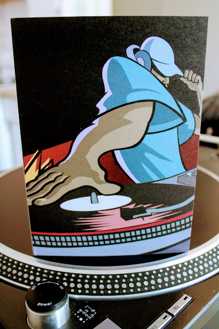 Cool Cartoon DJ Birthday Card on Zazzle - A picture of a dj greeting card on top of a platter of the technics sl-1200 turntable