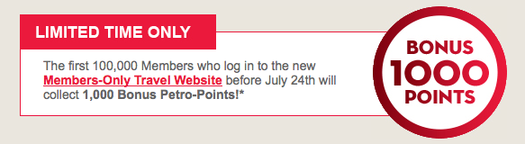 1000 free petropoints for logging into their new members
