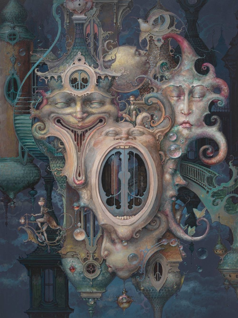 03-Meeting-Of-The-Minds-Daniel-Merriam-Paintings-of-Worlds-of-Surrealism-Built-on-Life-Experiences-www-designstack-co