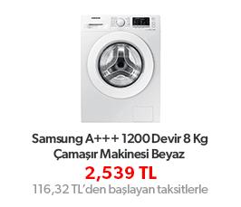 Samsung WW80J5355MW/AH A+++ 1200 Devir 8 Kg Çamaşır Makinesi Beyaz