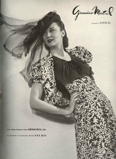 Germaine Monteil 1930's Ad Featuring Her Classic Print Design