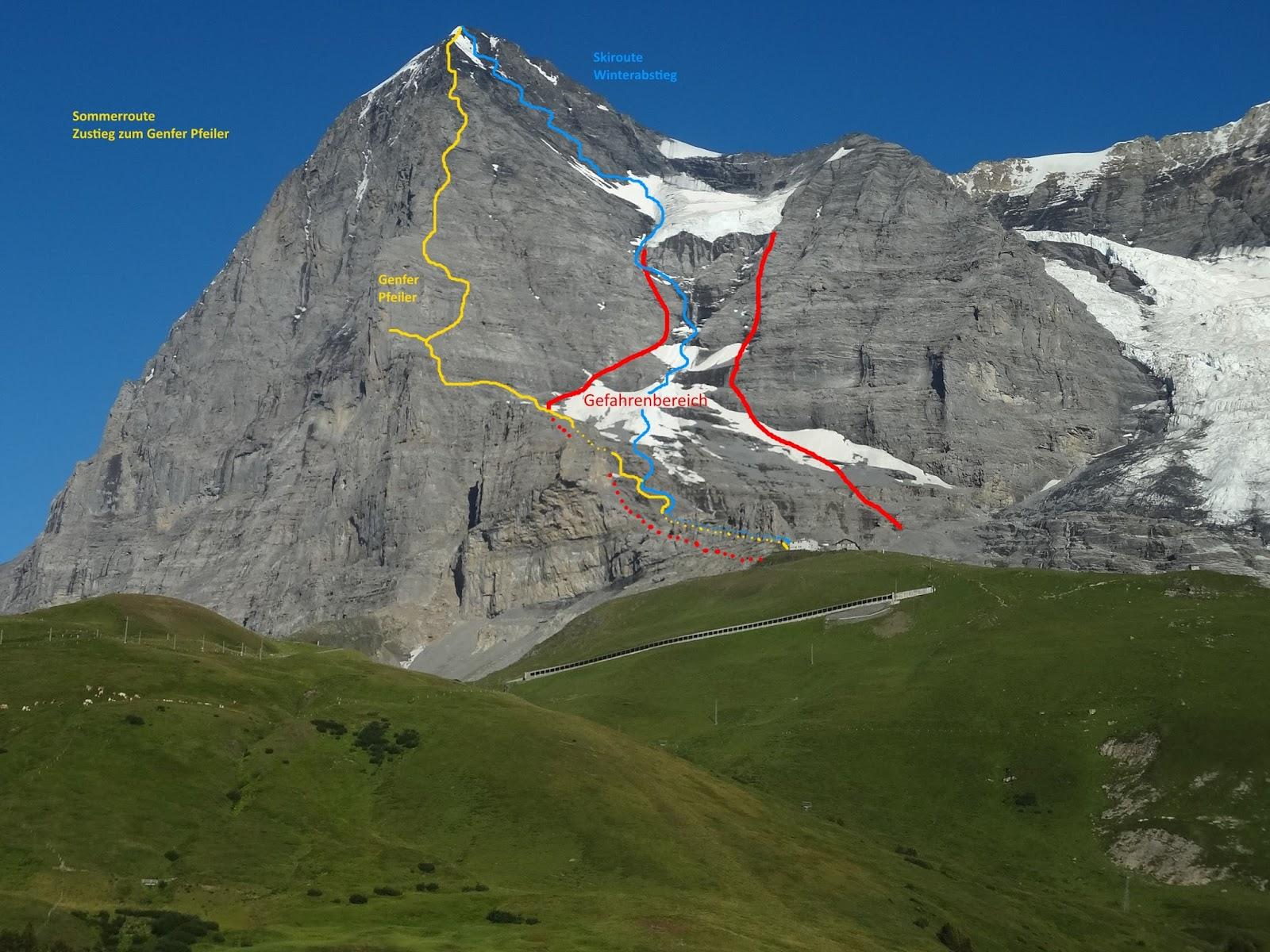 Klettersteig Rotstock : Kletterblog: eisschlag in der eiger westflanke