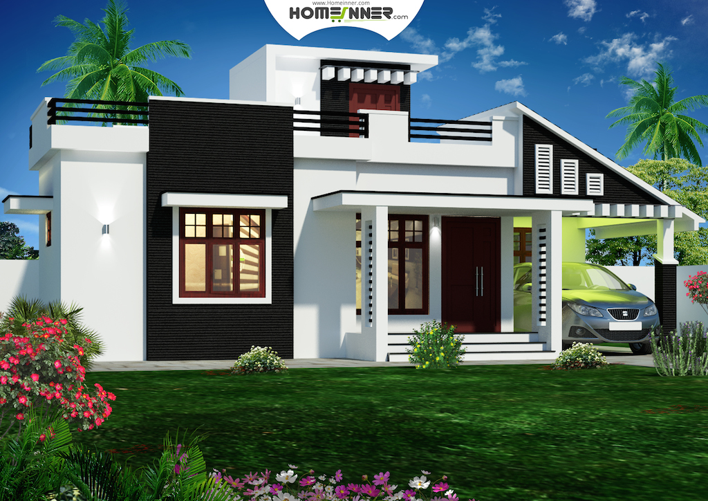900 sq feet kerala house plans 3d front elevation home Indian house front design photo