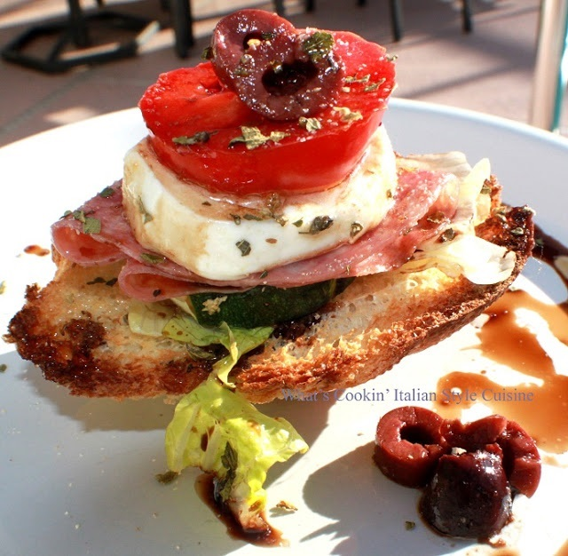 This is an antipasto bruschetta appetizer