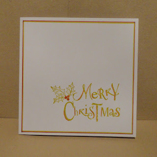 CAS Christmas card, Merry Christmas with holly, in lime with red