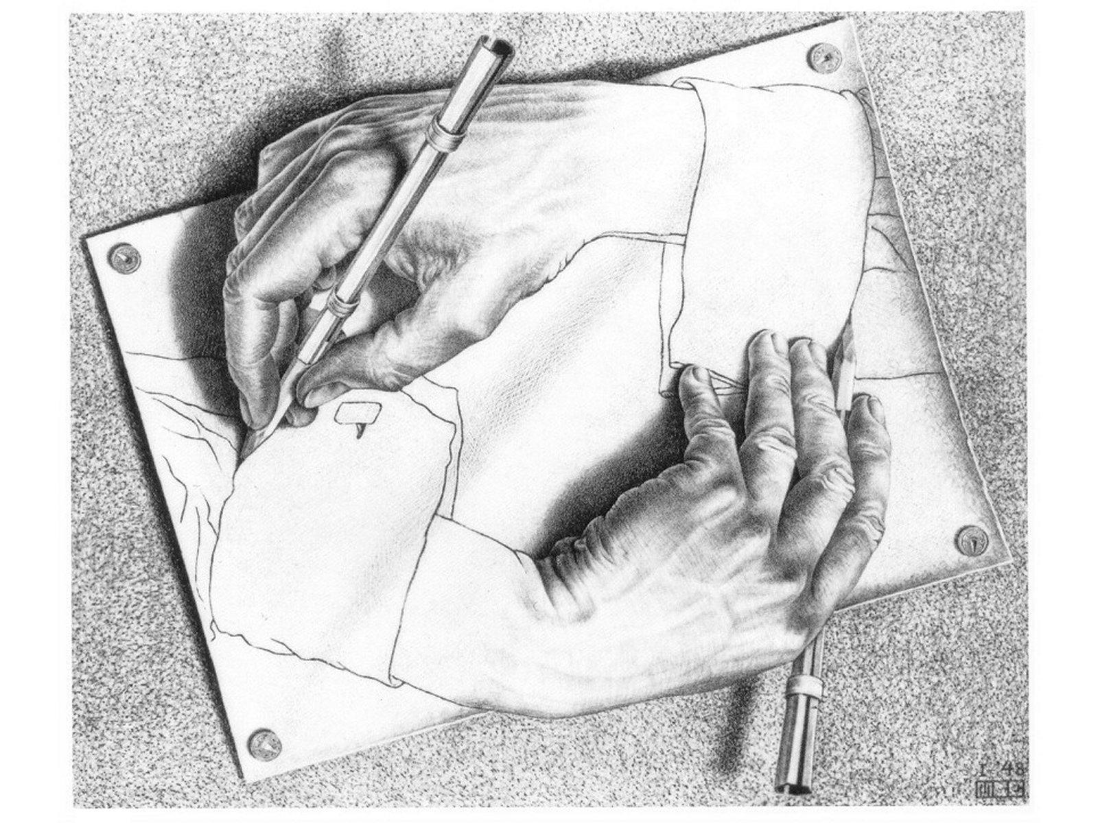 Risultati immagini per escher mani
