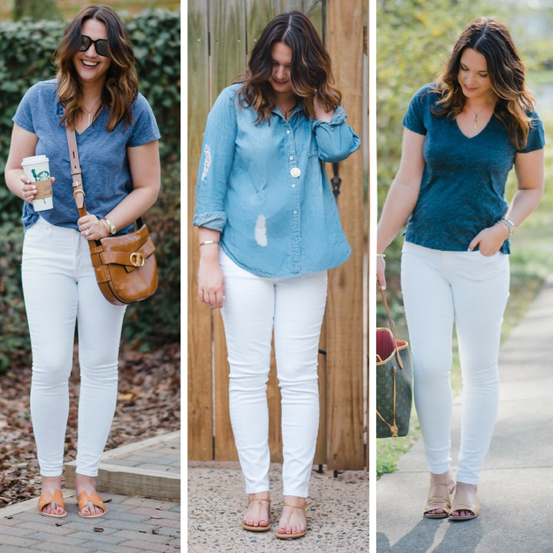 Mom Style Fave White Jeans: High, Medium and Low