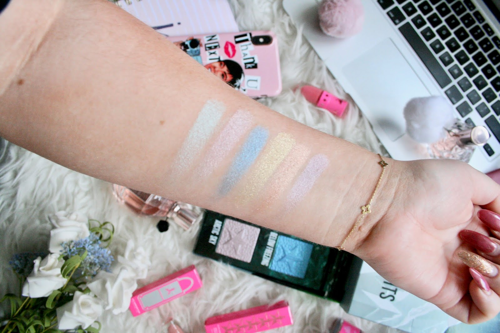 Jeffree Star Northern Lights Supreme Frost Swatches