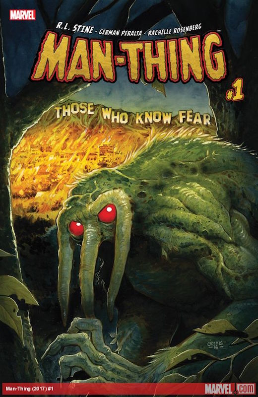 Man-Thing #1: Story: R.L. Stine Art: German Peralta Colors: Rachelle Rosenberg Letters: Travis Lanham Covers: Tyler Cook, Francesco Francavilla, John Tyler Christopher, Stephanie Hans, Ron Lim, Billy Martin, Rachelle Rosenberg  Man-Thing created by Stan Lee, Roy Thomas, Gerry Conway, Gray Morrow.