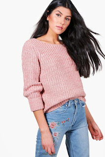Boohoo Mia Chunky Marl turn up cuff jumper