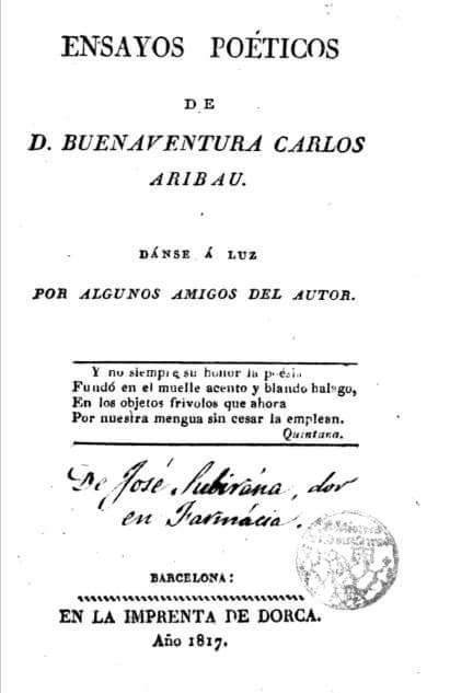 D. Buenaventura Carlos Aribau, 1817, ensayos poéticos
