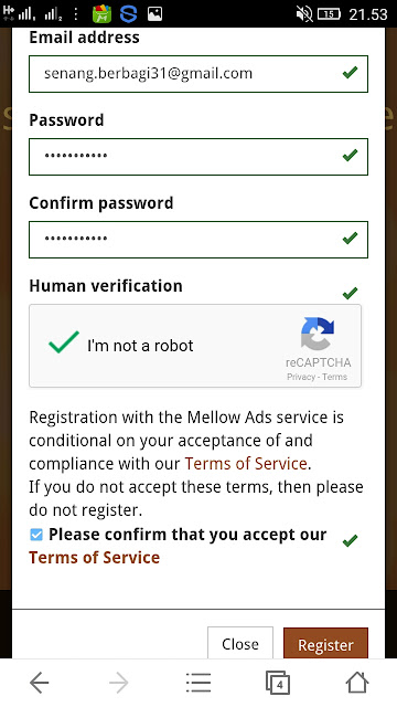 pendaftaran akun mellows Ads