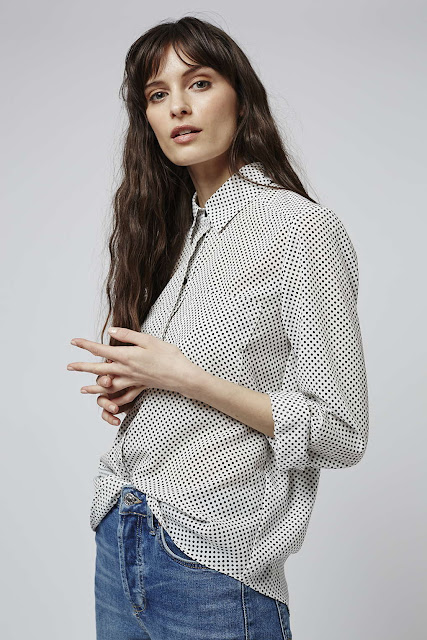 small spot print shirt, fitted spotty shirt,