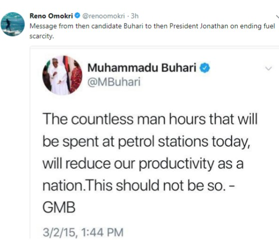 Photo of Muhammadu Buhari's tweet