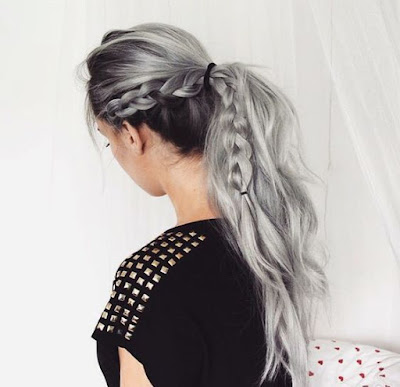 side braided gray hair