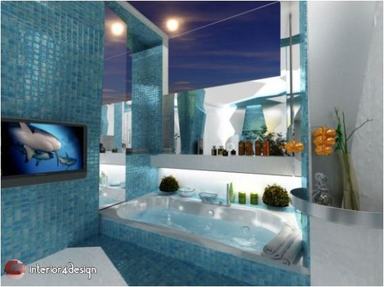 3D Futuristic Style Combination Of Two Contrasting Modern Bathroom Designs 3