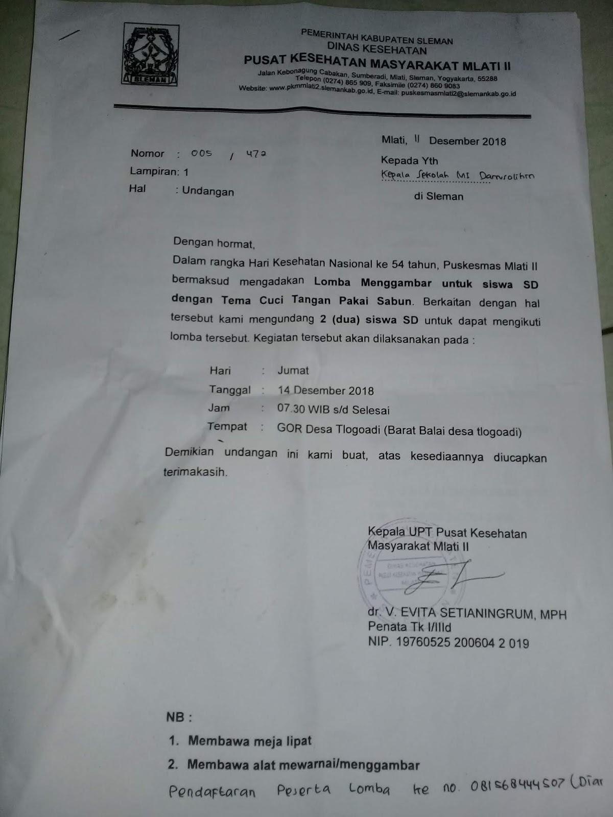 Contoh Undangan Perlombaan Olahraga Studi Indonesia