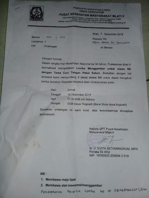 Contoh Surat Undangan Lomba Menggambar dan Mewarnai untuk TK/SD/MI dari Puskesmas