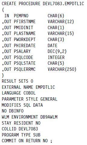Db2 stored procedure examples.