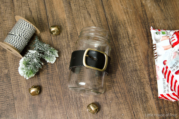Adding belt to Dollar Tree Santa belt candy jar