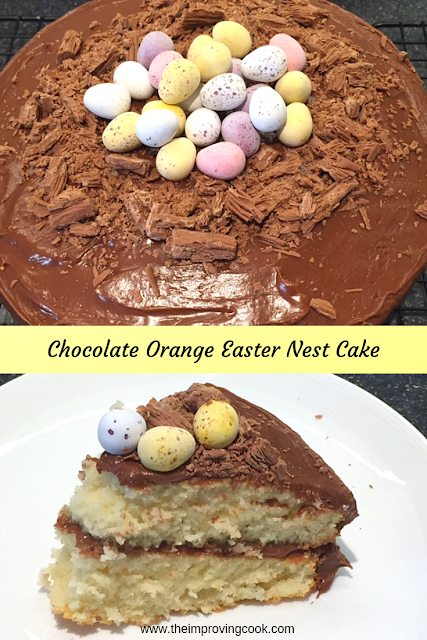 Chocolate Orange Easter Nest Cake and a slice of cake on a white plate