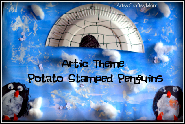 Artic theme potato print penguin craft Artic Theme Potato Print Penguin Craft crafts  Craft Classes Block printing