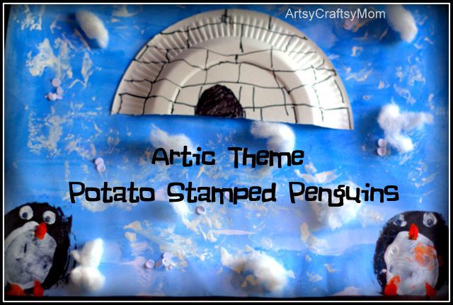 Artic theme potato print penguin craft Artic Theme Potato Print Penguin Craft crafts  Craft Classes Block printing