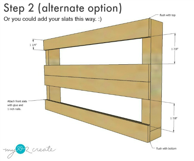 an alternate way to attach the front slats on a DIY Magazine rack