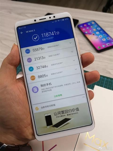 Asyik! Xiaomi Mi Max 3 Dapat Skor Tinggi di AnTuTu
