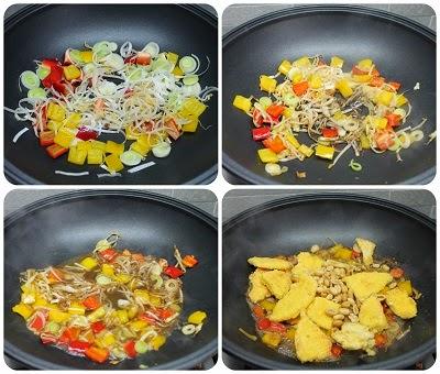 pollo croccante verdure e arachidi