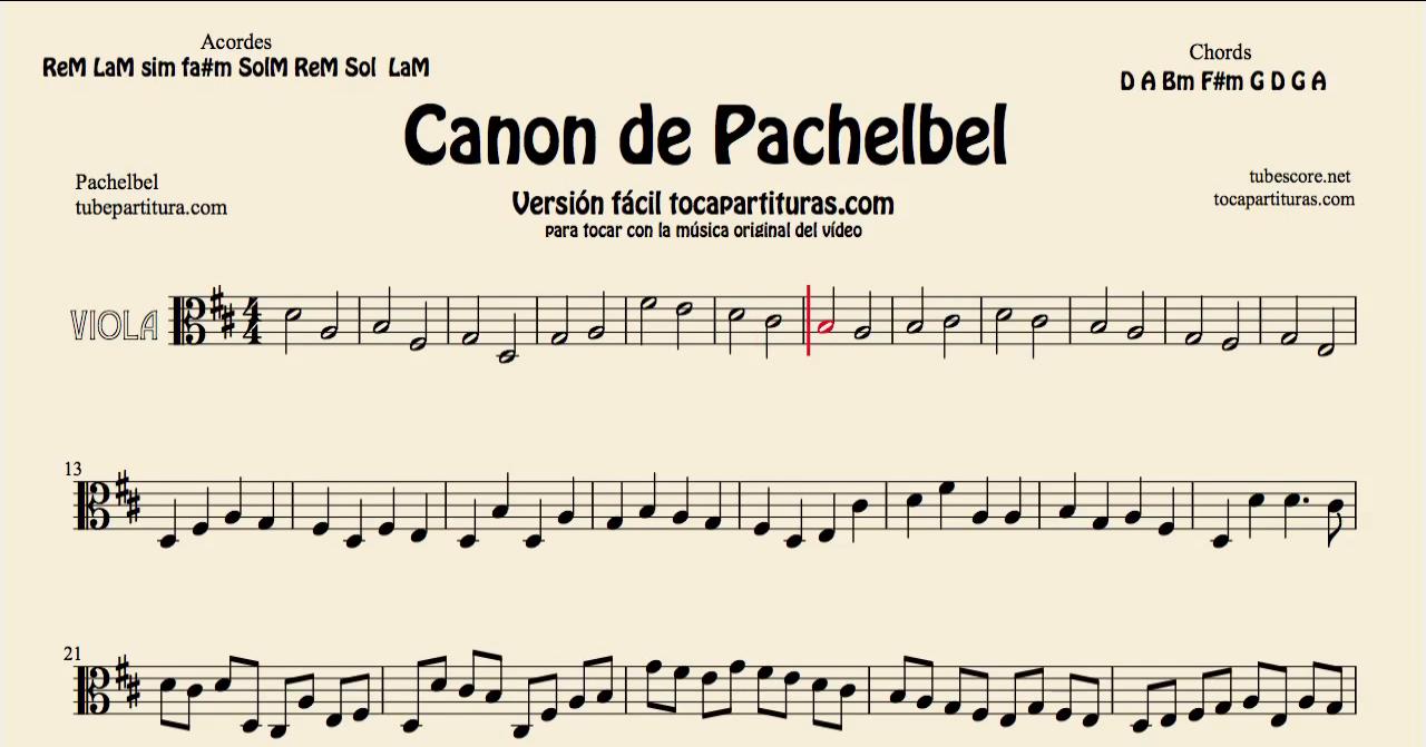 Canon de Pachelbel in D Partitura de Flauta, Violín, Saxofón Alto, Trompeta, Viola, Oboe, Clarinete, Saxo Tenor, Soprano Sax, Trombón, Fliscorno, chelo, Fagot, Barítono, Bombardino, Trompa o corno, Tuba...