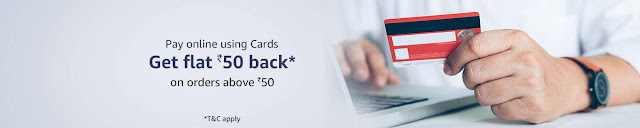 Get flat 50/- cash back on min order value of 50/-