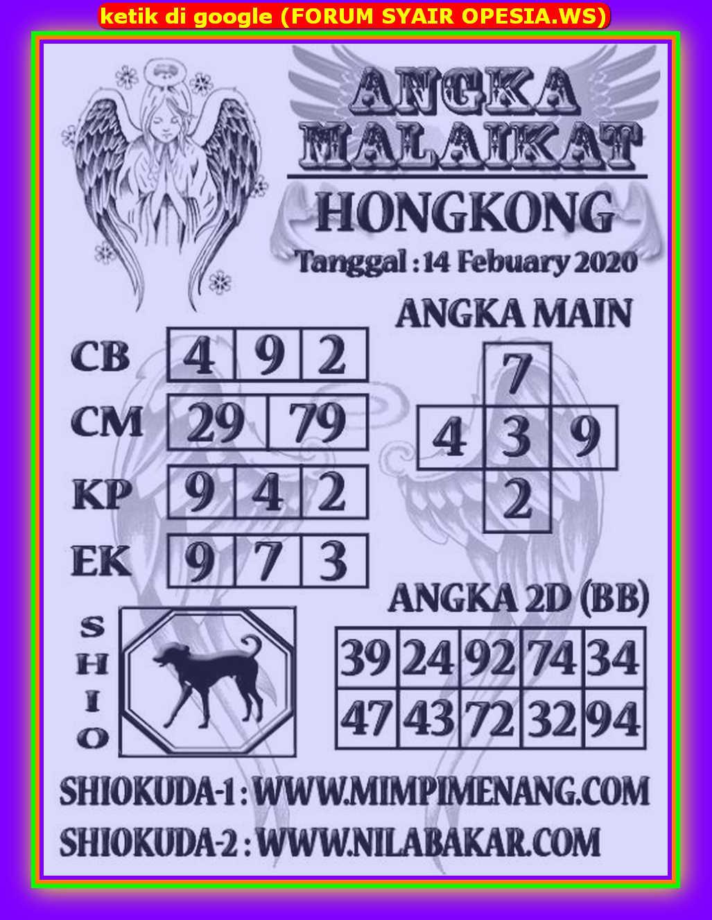 Kode syair Hongkong Jumat 14 Februari 2020 127