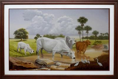 Oleos, vacas, paisaje