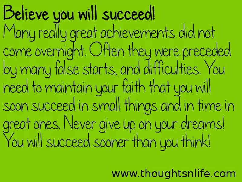 Thoughtsnlife:Believe you will succeed!